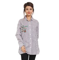 Cottn Embroidery Grey Collar Top