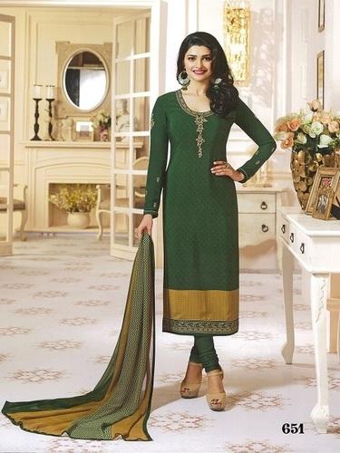 Rahi Fashion Prachi Desai GREEN COLOR Royal Crape Embroidered Straight Suit
