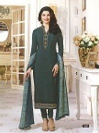 Rahi Fashion Prachi Desai DARK GREEN COLOR Royal Crape Embroidered Straight Suit