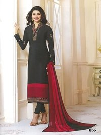 Rahi Fashion Prachi Desai GREYBLACK COLOR Royal Crape Embroidered Straight Suit