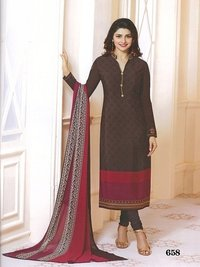 Rahi Fashion Prachi Desai BROWN COLOR Royal Crape Embroidered Straight Suit