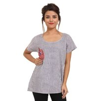 Embroidery Cotton Round Neck Top