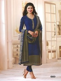 Rahi Fashion Prachi Desai NEVY BLUE COLOR Royal Crape Embroidered Straight Suit