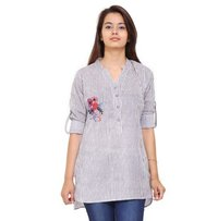 Cotton Lining Embroidery Office Wear Grey Top