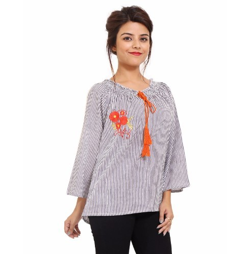 Cotton Embroidery Office Wear Grey Tops