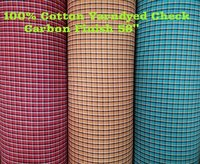 100% Cotton Yarn Dyed Check Carbon Finish 58''