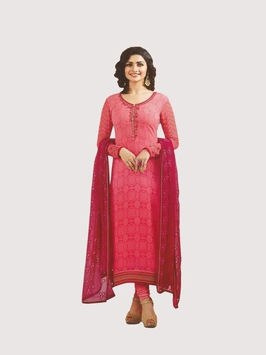 Rahi PEACH COLOR Royal Crape print straight suit