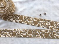 white gold floral embroidery Trim