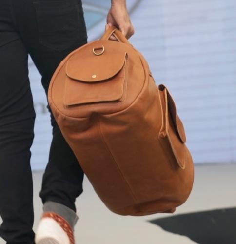 Leather Duffle Weekender Bag