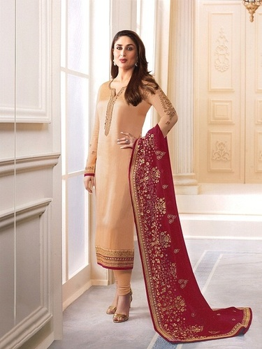 Kareena Kapoor Beige Georgette Straight Suit