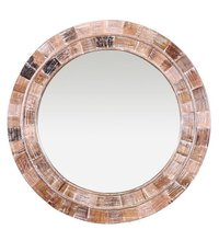 Venus Round Mirror Frame in White Distress Finish