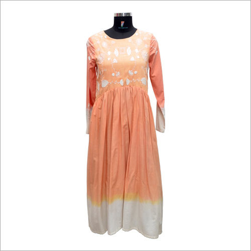 Ladies Customized Round Neck Maxi Dress