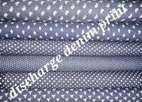 Shirting Discharge Denim Printed Fabric 58''
