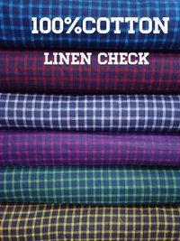 Shirting  Cotton Linen Check Fabric 58''