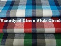 Shirting  Yarn Dyed Linen Slub Check Fabric 58''