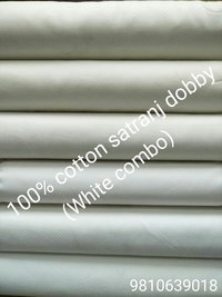 Shirting  Cotton Satranj Dobby Fabric  (White Combo) 58''