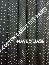 Shirting Candy Dot Print Fabric (Navy Base) 58''