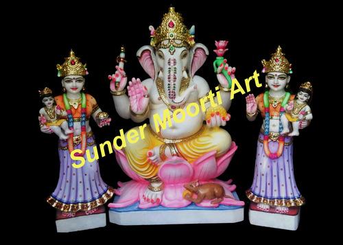 Marble Riddhi Siddhi Ganpati Statue