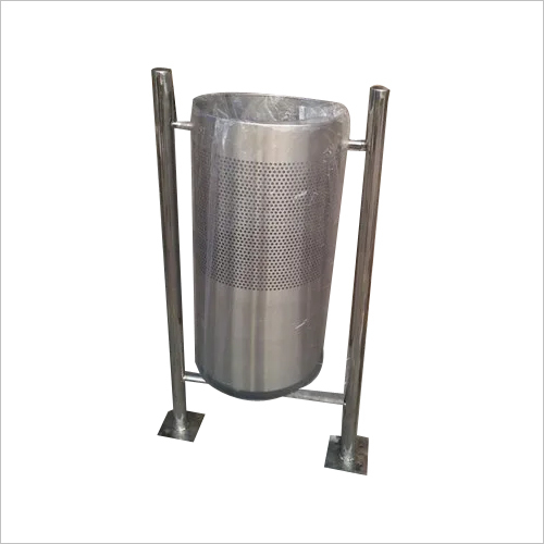Stainless Steel Pole Mounted Dustbin