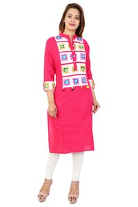 Cotton printed Straight embroidery kurti