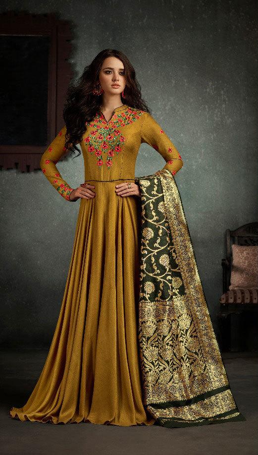 Arihant Rizwana Readymade Gowns Banrasi Dupatta