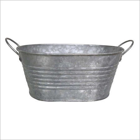 Galvanized Oval Shape Ribbed Bucket