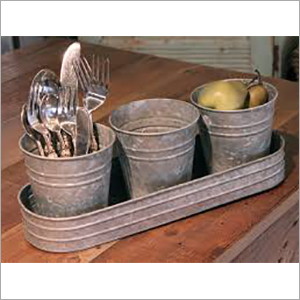 Set of 3 Galvanized Utility Buckets with Tray