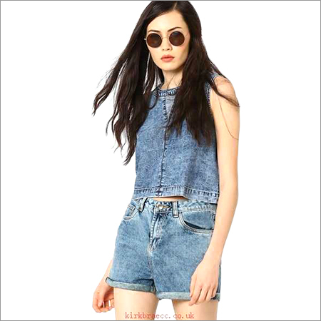 Ladies Denim Crop Top