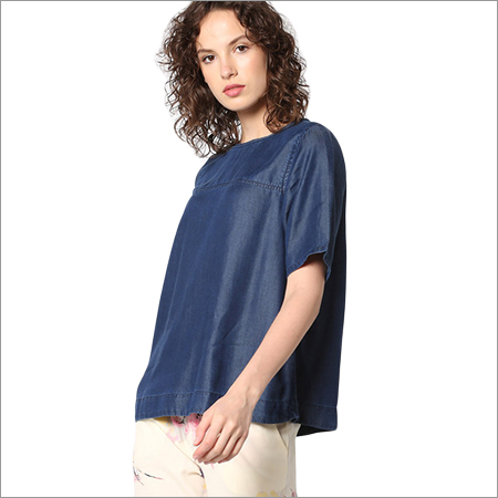 Ladies Plain Denim Top