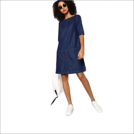Ladies Denim Shift Pockets Dress