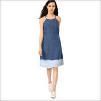Ladies Fit Flare Denim Dress