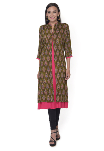 Green Double Layer  Rayon Kurti