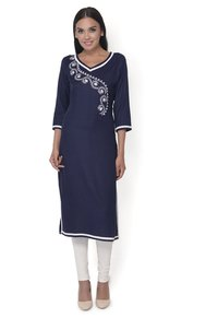 Navy Blue Embroidered Rayon Kurti