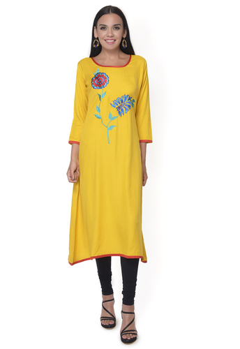Yellow Embroidered Rayon Kurti