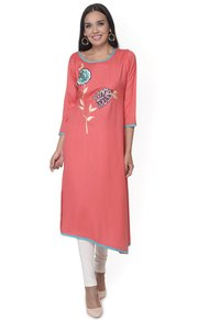 Peach Embroidered Rayon Kurti