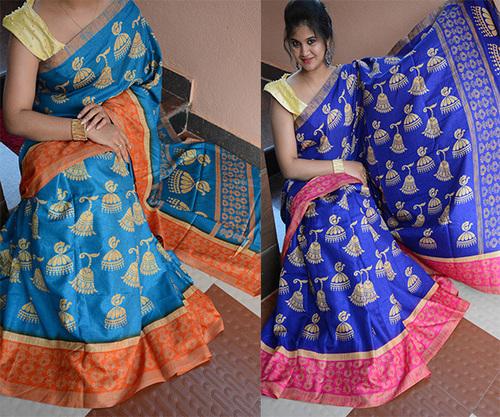 Designer Manipuri / Lilen Chanderi Silk Saree