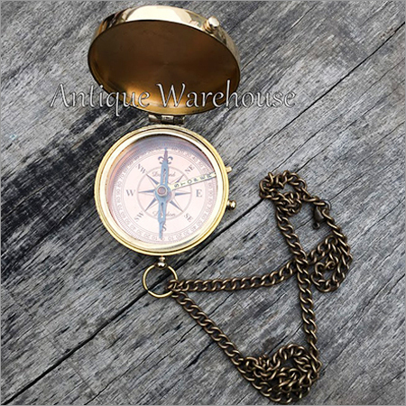 Nautical Brass Compass With Chain