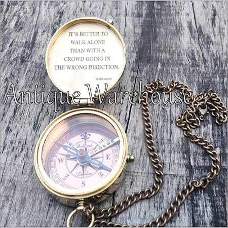 Prismatic Brass Compass With Chain