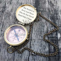 Designer Brass Compass With Chain