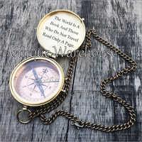 Designer Brass Compass With Chain