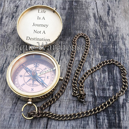 Life Is A Journey Brass Compass With Chain