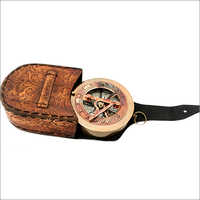 Brass Vintage Compass With Leather Case
