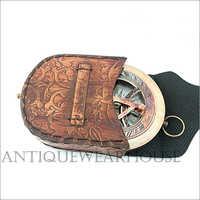 Nautical Handmade Brass Compass With Case