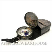 Brass Compass With Leather Box