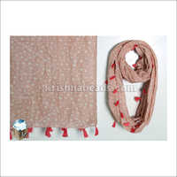 Cotton Polly Loop Scarf with Fringes