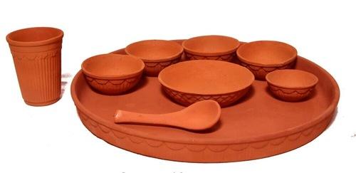 Red Clay Thali Set