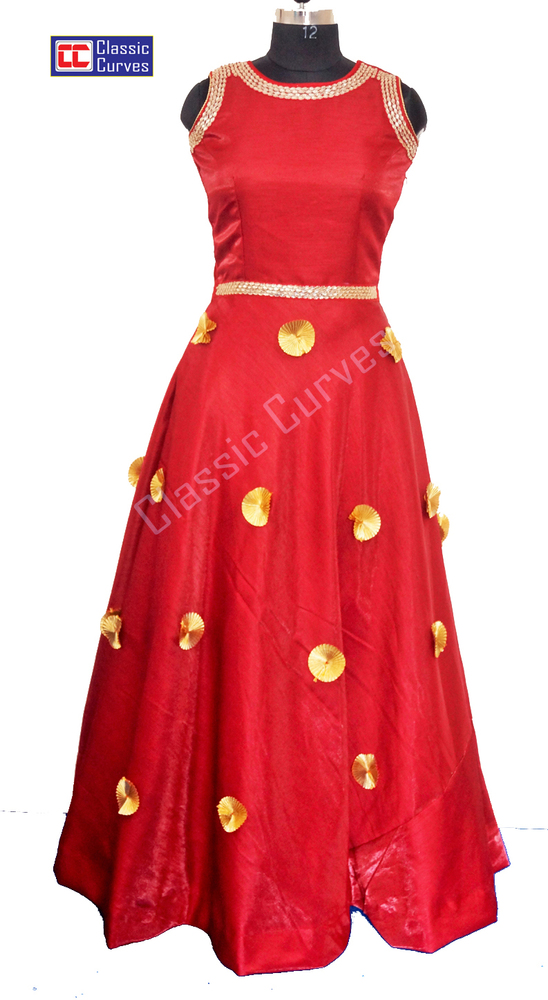 Ladies Designer Round Neck Long Dress