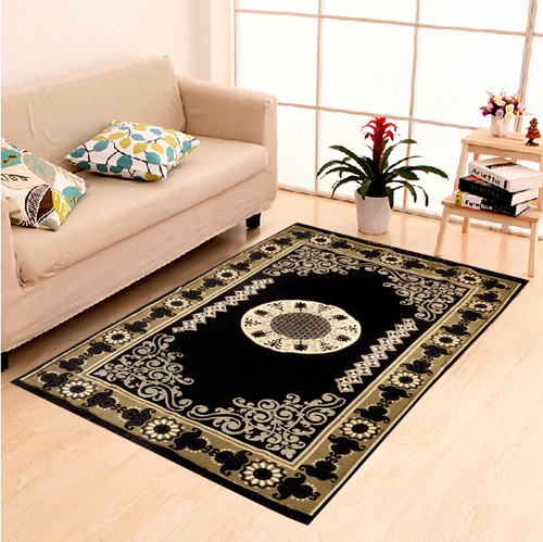 Home Elite Chenille Carpet 5x7,Black