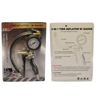 FIT TOOLS 3 in 1 Tire Inflator Measure Deflate with Gauge Trigger Gun