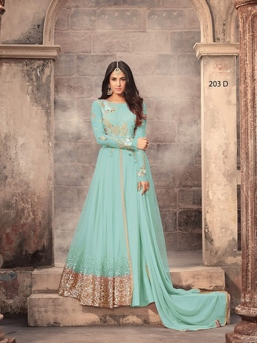 SKY BLUE Net Abaya Style Anarkali Suit